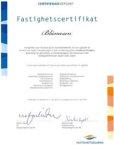 Blåmesen Certifikat